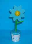 Flower - Daisy Blue Upright - White Blue Spotty Base