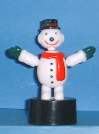 Snowman - Red Scarf/Black Hat - Oval Base - Plastic