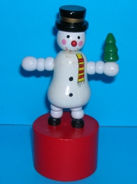 Snowman - Tree- Yellow Scarf - Black Hat - Red Base