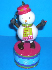 Snowman - Blue Decorated Base - Hanging Ornament