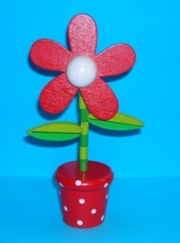 Flower - Daisy - Red - Red Base - White Spots