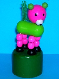 Bear - Bright Pink & Lime Green - Dark Green Base