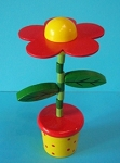 Flower - Daisy - Red Upright Red Yellow Spotty Base