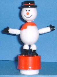 Snowman - Black Hat - Red Base - Small - Plastic