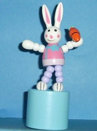 Bunny - Easter - Pink Suit - Carrot -  Pale Blue Base