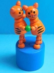 Cat - Cats - Striped - Double Dancing - Blue Base - Push Puppet