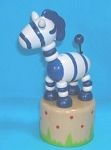 Zebra - Blue Striped - Push Puppet