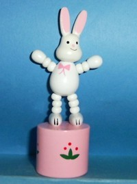 Easter Bunny - white - pink bow tie - pink base