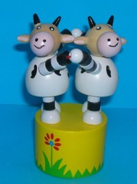 Cow - Cows - Double Push Puppets - Yellow Base