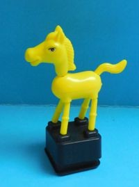 Horse - Pony - Bright Yellow - Plastic - Black Square Stand