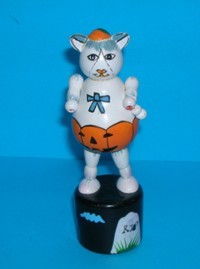 Halloween Cat - White - RIP Base - Upright